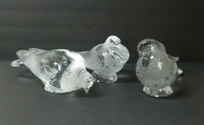 Set/3 Lalique Frosted Crystal Life-Size Pigeon Figures