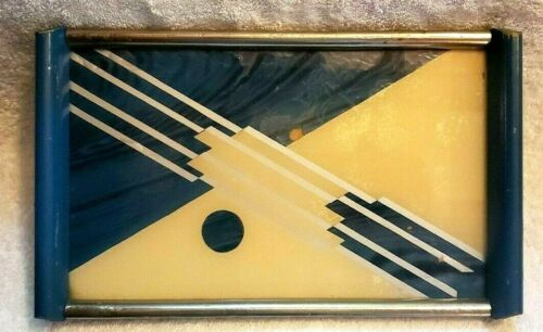 # 58 ART DECO DESIGNED REVERSE PAINTED SERVING TRAY cocktail bar ware Bauhaus