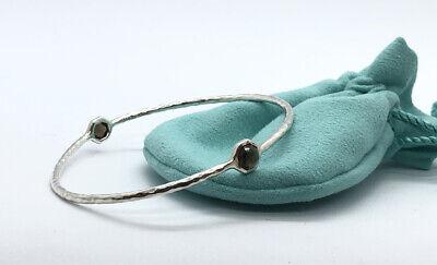 Ippolita 2 Stone Sterling Silver Rock  Smoky Chocolate Stone Hammered Bracelet