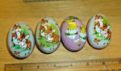 4 Vintage EASTER LITHO TIN CANDY HOLDER EGGS