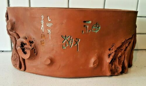 Antique Japanese Signed Figural Tree Trunk Pottery Planter Bonsai