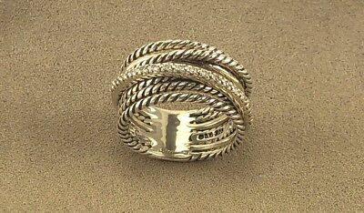 - David Yurman Sterling Silver 925 Crossover Wide Cable Pave Diamond Ring Size 5