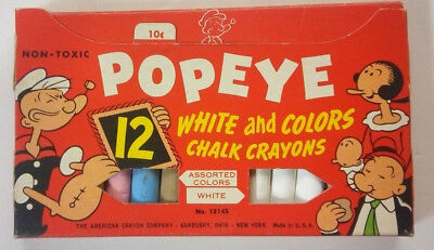 Vintage American Crayon POPEYE Chalk in original packaging--Excellent condition!