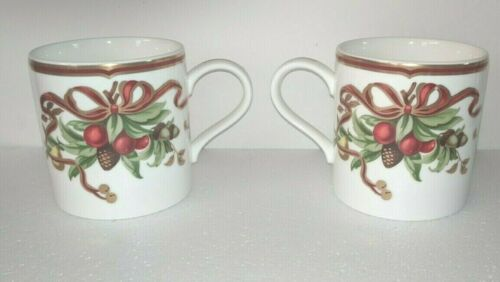2-Tiffany & Co Tiffany Holiday Garland Coffee mugs Holiday ribbon unused