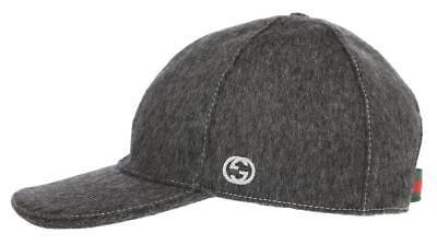 NEW GUCCI GRAY WOOL INTERLOCKING G LOGO WEB DETAIL BALL HAT CAP 59/L UNISEX
