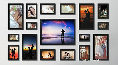17Pcs Wood wooden effect Multi Picture Photo Frames Wall Hang Frames Collage Set ()