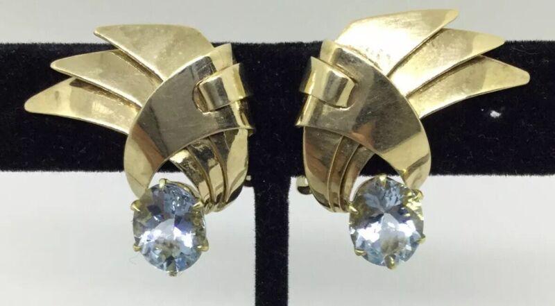 GREAT PAIR TIFFANY & CO. AQUA MARINE VINTAGE EARRINGS - 14K DECO (J886)