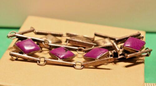 Vintage Sterling Mexico Purple Stone Bracelet 40.1 Grams TM-273