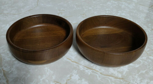 Vtg Set of 2 Kustom Kraft Solid Black Walnut Hand Turned Bowls Made in USA