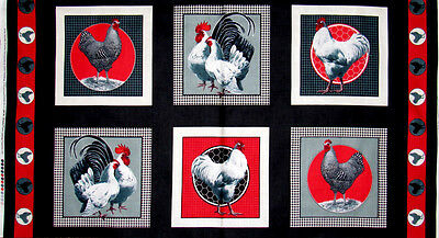 Quilting Treasures Rooster Royale Farm Bird Chicken Hen Cotton Fabric PANEL
