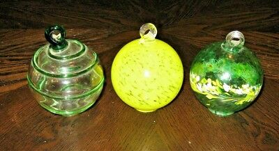 (3) HANDCRAFTED GLASS BALL HUMMINGBIRD NECTAR FEEDERS, FREE SHIPPING - Glass Feeder Balls