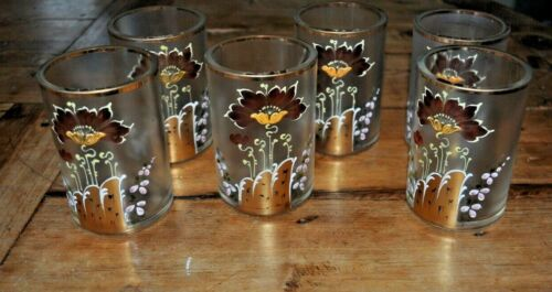 ANTIQUE VICTORIAN HAND PAINTED ENAMEL FLORAL SET OF 6 GLASSES TUMBLERS