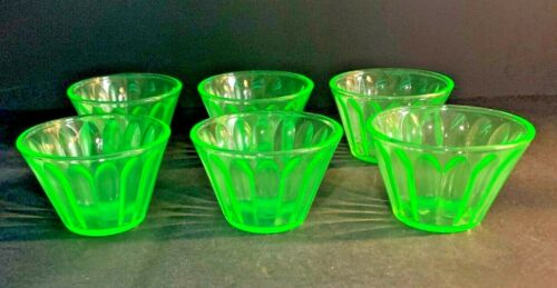 Vintage Hazel Atlas Green Uranium Depression Glass Custard Cups-Set of 6