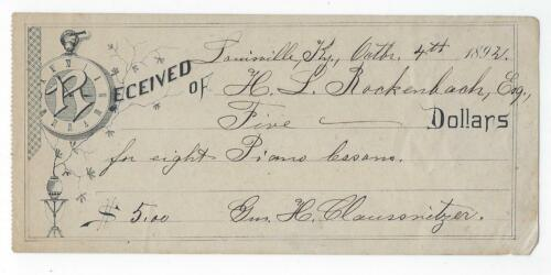 1892 Receipt For Piano Lessons, Louisville KY From Music Teacher Claussnitzer