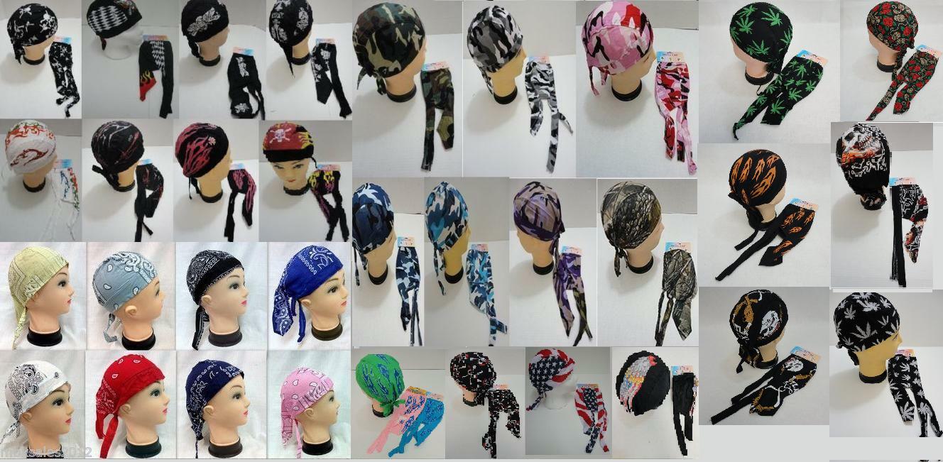 Biker Motorcycle Headwrap Skull Cap Doo Rag 100/% Cotton 12 COUNT ASSORTED