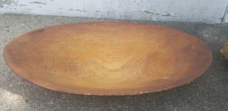 Antique Primitive Carved Wooden Dough Bowl Oblong Trencher 1880s Maine Estate