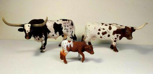 Schleich Texas Longhorn Family Cow, Bull, Calf, Farm Animal Figures, Retired