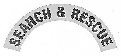 SEARCH AND RESCUE Fire Helmet CRESCENT Rocker DECALS - A PAIR