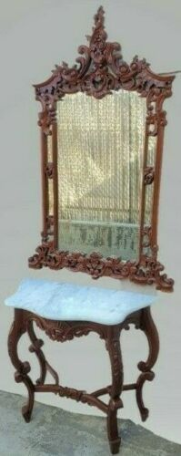 Vintage French Style Hand Carved Marble Top Console Table & Mirror Entryway Set
