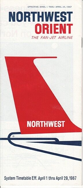 Northwest Orient Airlines timetable 1967/04/01