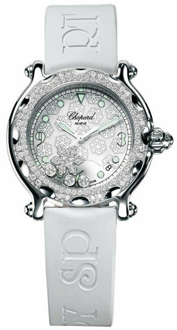 Chopard Diamond Snowflake White Band Watch 36 mm - watch picture 1