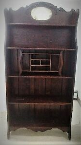 Antique tigerwood shelf, high back chairs folding tables