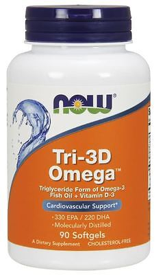 NOW Foods TRI-3D OMEGA Fish Oil 550mg, Vitamin D-3 1000 IU - 90 Softgels