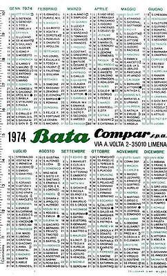 CALENDARIETTO PUBBLICITARIO BATA 1974