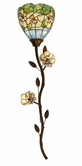 """43""""H Magic Magnolia Stained Glass LED Wallchiere w/ Remote Control"""