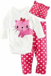 New- 9-12 Months 3 Pc Long Sleeved Cat Pajama Set