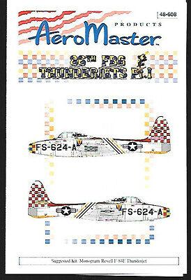 Aeromaster F-84E Thunderjets 86 FBG Pt 1 Decals Revell Monogram Kit 1/48 AN48608