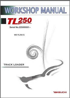 Takeuchi Tl250 Loader Service Repair Workshop Parts Manual Cd - Tl 250