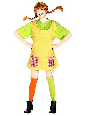 Pippi Longstocking Costumes (Pippi Longstocking Costume Adult Womans Fancy Dress Book TV Character Outfit)