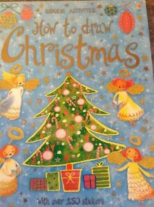 "Usborne "" How to Draw Christmas "" Brand New all stickers include"