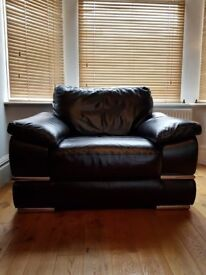 Real Leather ArmChair Sofa Black Bargain Deal £110.00 RRP over £600