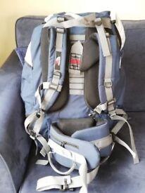 Trespass Levitate 65 Rucksack, colour Blue. Main compartment capacity 65 litre