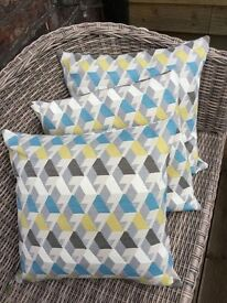 Brand New Geometric Design Cushions, Blue & Yellow design