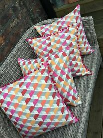 Beautiful Geometric Design Cushions, orange & cerise design.