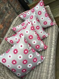 Beautiful Cushions, Grey with Cerise & Cream Daisy design