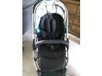 Oyster 2 Pram with car seat adaptors, teal colour pack, rain cover, sun shade and instructions