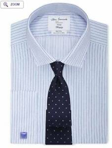 TM LEWIN Non-Iron Mid Blue Slim Stripe Fitted Shirt Perth Perth City Area Preview