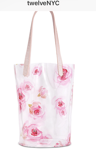 NWT Macy's Pink Floral Tote Clear PVC Vinyl Tote Bag - Fro