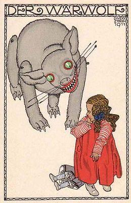 Postcard: Vintage print Repro - Art Nouveau Werewolf and Little Girl](Werewolf And Girl)
