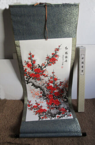 Vintage Chinese Wall Hanging Scroll Painting Red Blossom Stamped