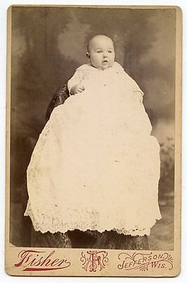 - Cabinet Photo - Jefferson, Wisconsin - Cute Baby in Long Gown, Bright Eyes