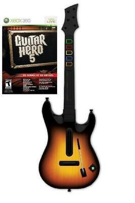 NEW Xbox 360 Guitar Hero World Tour Wireless Sunburst Guitar & GH 5 Game Bundle for sale  Shipping to Nigeria
