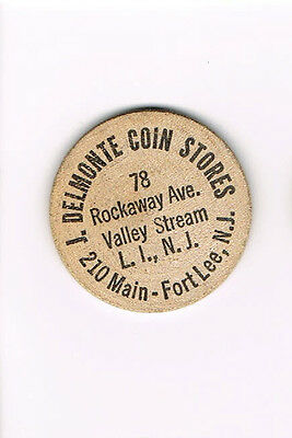 Vintage Wooden Nickel J. Delmonte Coin Stores Fort Lee, NJ  *FREE SHIPPING*
