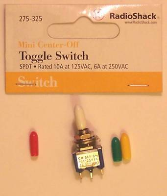 Radioshack 275-325 Mini Spdt Toggle Switch 10a At 125vac Green Red Yellow White