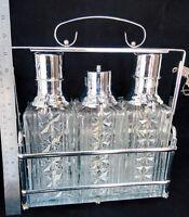 Antique  Locking Liquor Dispenser  set 3 pump  Tantalus
