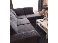 Grey L Shaped Corner Sofa (Good Condition)